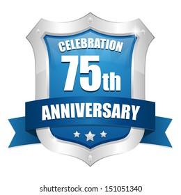 Blue seventy-five year anniversary shield