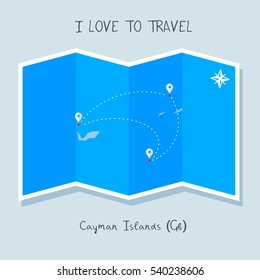 A blue shade Map with map pin of the Cayman Island . Sketch Country map for infographics, brochures and presentations. vector sky blue map illustration