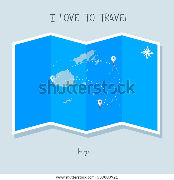 A blue shade Map with map pin of the Fiji . Sketch Country map for infographics, brochures and presentations. vector sky blue map illustration