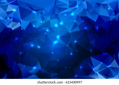 Blue shades abstract low poly geometric background with defocused lights