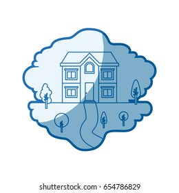 blue shading silhouette scene of natural landscape and facade house of two floors vector illustration