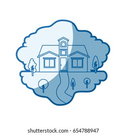 blue shading silhouette scene of natural landscape and facade house with attic vector illustration
