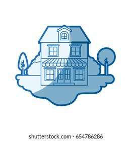 blue shading silhouette scene of outdoor landscape and house with two floors with attic and awning vector illustration