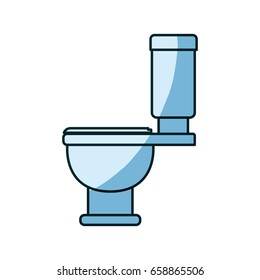 blue shading silhouette of toilet icon side view vector illustration