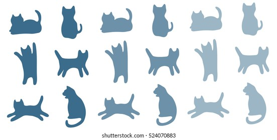 blue shadow silhouette cats pattern background / cat movement in many positions