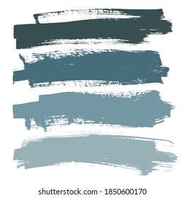 blaue Schatten lindern art brush bemalte Textur einzeln auf Vektorhintergrund. Paint Strokes Design, abstrakte, kreative Illustration