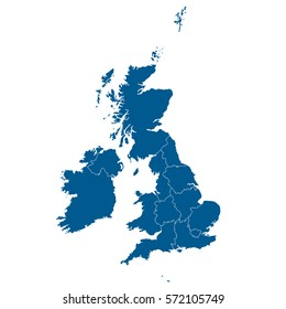 A Blue shape with name of the country of United Kingdom