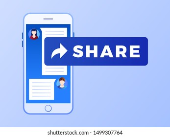 Blue share button on smart phone. Social media marketing concept. Flat style design with gradient. Modern vector.