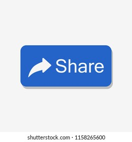 Blue share button. Web button. Vector illustration. EPS 10.