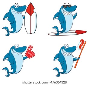 Blue Shark Cartoon Mascot Character 8. Vector Collection Set Isolated On White Background