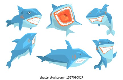 Blue Shark in Different Poses Set, Ocean Scary Animal Character, Underwater Marine Predator Vector Illustration