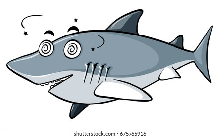 Blue shark with dizzy face illustration