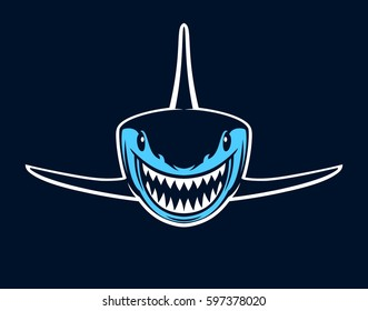 Blue shark with open jaws on a dark background. Vector illustration