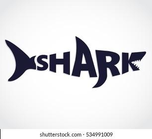 blue shark shape text logo