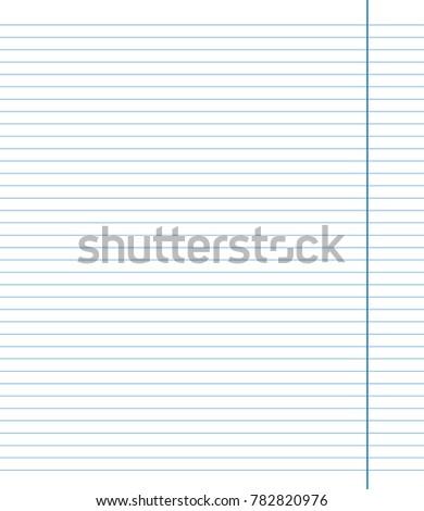 blue sheet horizontal lines notebook school stock vector royalty