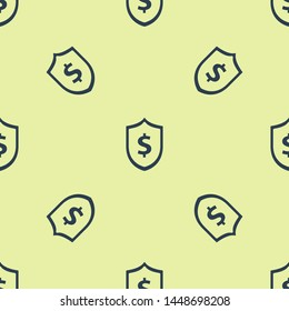 Blue Shield with dollar symbol icon isolated seamless pattern on white background. Security shield protection. Money security concept.  Vector Illustration