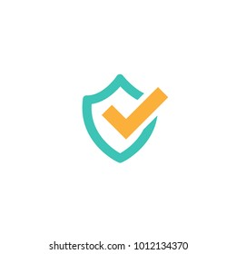 Blue shield with orange tick sign. Vector flat icon isolated on white. security sign. protection emblem