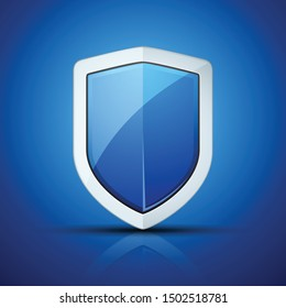 Blue Shield protection sign illustration