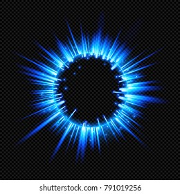 Blue Shine Starburst Flare Flash with Rays and Sparks on Transparent Background  - Vector Radiant Supernova Explosion
