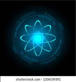 Blue Shining atom scheme. Vector illustration. dark background. digital. infographics. Abstract Technology background for computer graphic website internet. circuit.