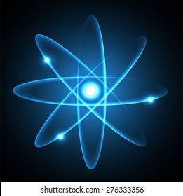 Blue Shining atom scheme. Vector illustration. dark background. digital. infographics. Abstract Technology background for computer graphic website internet and business. circuit.