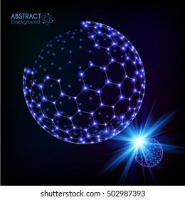 Blue shining cosmic hexagonal grid shining sphere, vector planets concept