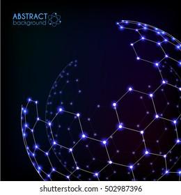 Blue shining cosmic hexagonal grid shining vector sphere