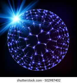 Blue shining cosmic hexagonal grid shining sphere, vector concept