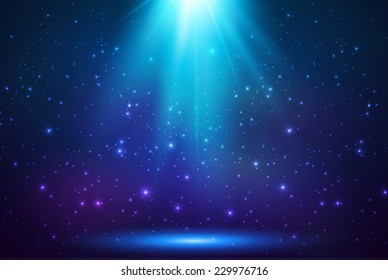 Blue shining top magic vector light background