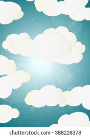 blue shinning sky with white clouds, vector