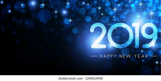 Blue shiny 2019 Happy New Year poster. Vector background.