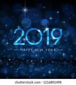 Blue shiny bokeh 2019 Happy New Year greeting card. Vector background.