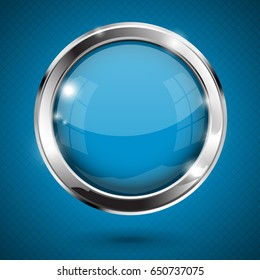 Blue shiny button. Round glass web icon. Vector 3d illustration on blue background.