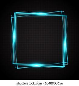 Blue shiny frame. Transparent light vector illustration