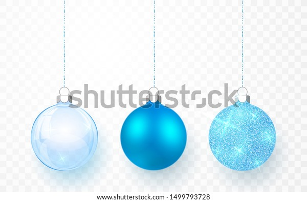 Blue shiny glitter glowing and transparent Christmas balls. Xmas glass ball on transparent background. Holiday decoration template. Vector illustration.