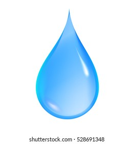 Blue shiny water drop isolated on white background. Realistic vector illustration.