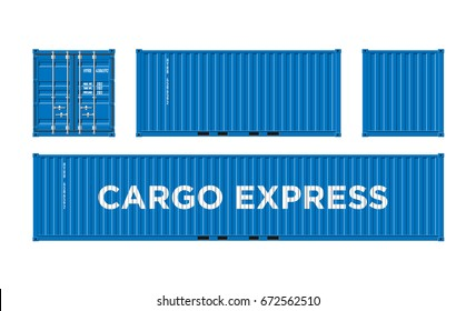 Blue Shipping Cargo Container Twenty and Forty feet. for Logistics and Transportation on White Background. Facets and Surfaces. Vector Illustration.