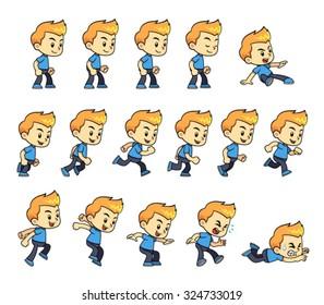 Blue Shirt Boy Game Sprites Blue Shirt Boy game sprites for side scrolling action adventure endless runner 2D mobile game.