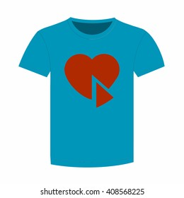 Blue shirt with a picture of the broken heart. Vector illustration