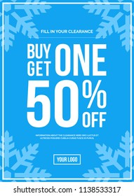 Blue Shop Vector Sign For A Buy One Get One 50% Off Clearance