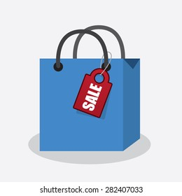 Blue shopping bag with attached sale tag
