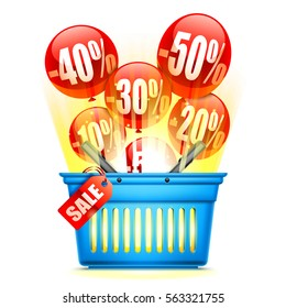 Blue shopping basket with sale event anouncement