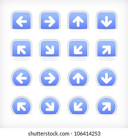 Blue sign arrow sticker on cut paper pocket. Web button blank satin circles and rounded square shapes with gray drop shadow on white background. This vector illustration design element saved 10 eps