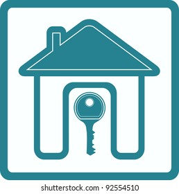 blue sign of real estate with silhouette house door and key