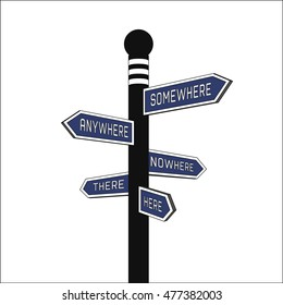 Blue signpost. Direction signs: here, there, anywhere, nowhere, somewhere. Isolated illustration. Vector
