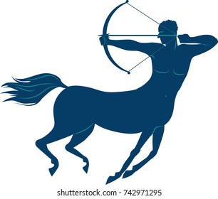 Blue silhouette of a centaur shooting arrow from a bow, EPS 8 vector illustration