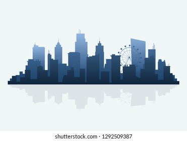 Blue silhouette cityscape background vector