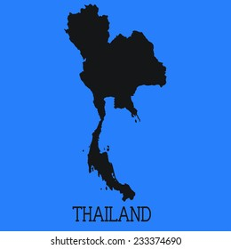 Blue Silhouette of the Country Thailand
