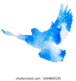 blue silhouette of flying bird