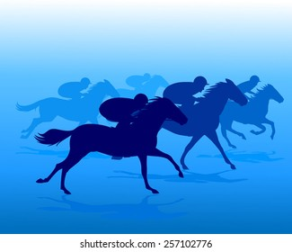 Blue silhouette of horse riders